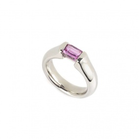 18k White Gold Pink Sapphire Ring 0.65ct